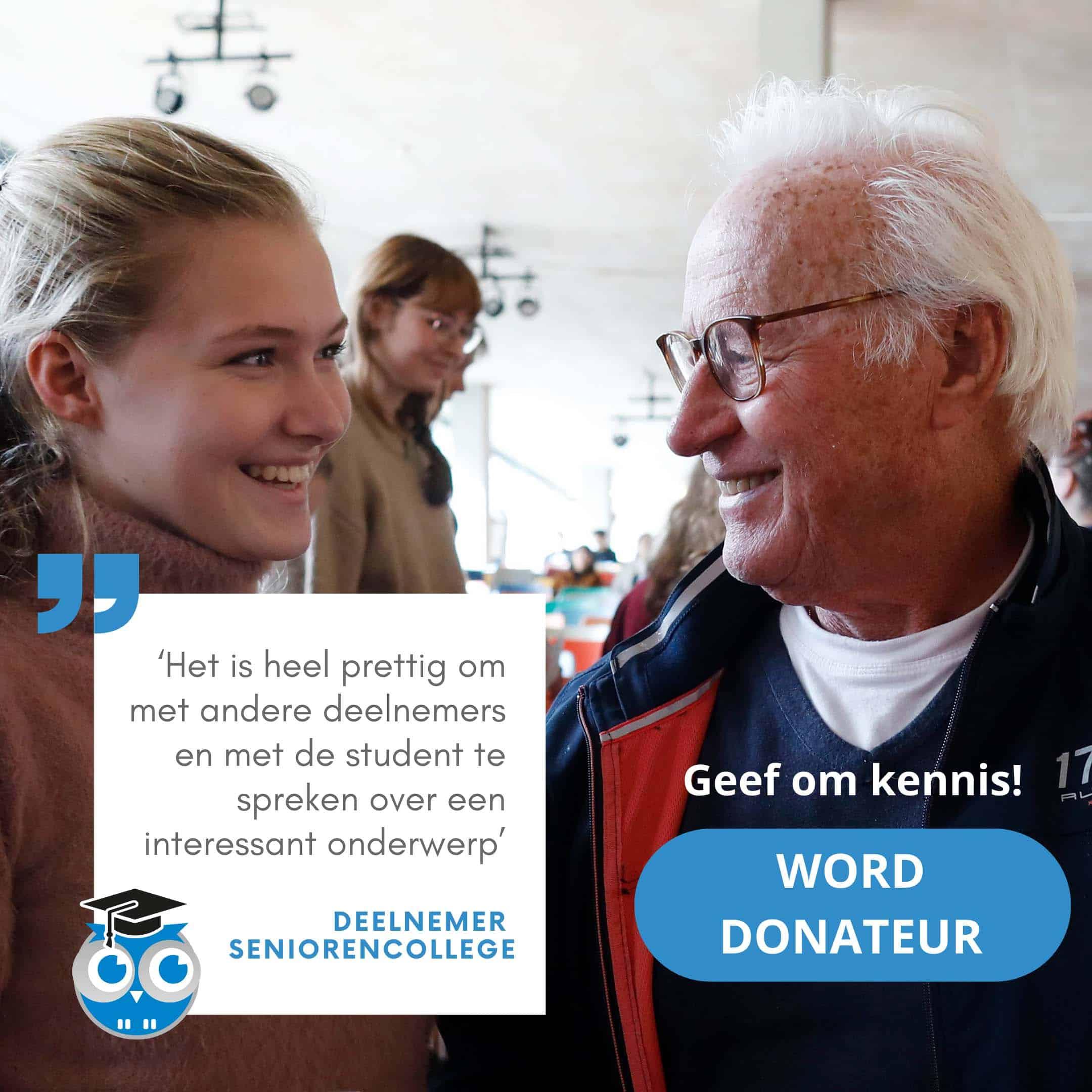 Oproep word donateur: studentdocent en senior in gesprek na een seniorencollege