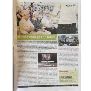 Artikel over OGJG en OASE in Vrijetijdkrant.nl - editie Nijmegen