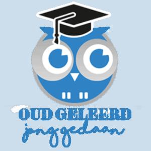 Logo Oud Geleerd Jong Gedaan - uiltje met tekst, homepage