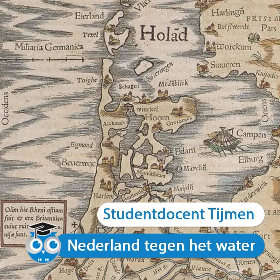 Oude kaart van Nederland, uit seniorencollege Nederland tegen het Water, door studentdocent Tijmen