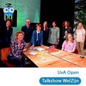 De sprekers van UvA Open talkshow WelZijn met Lisette van OGJG